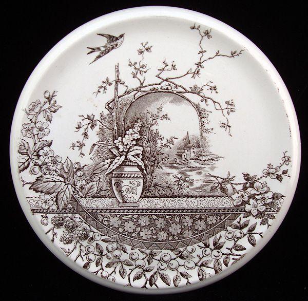England Brown Transferware Tea Stand ~ RUSTIC 1886