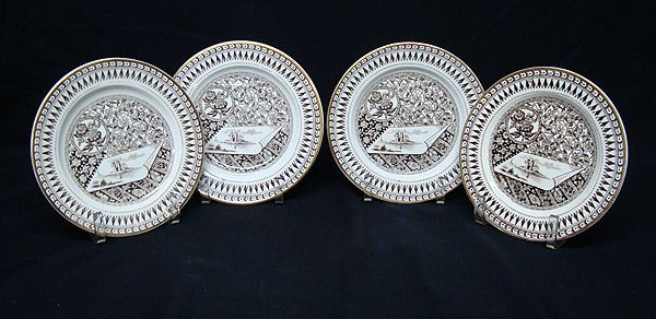 4 Staffordshire Brown Transferware Plate ~ CANTERBURY 1883