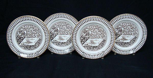4 Staffordshire Brown Transferware Plate ~ CANTERBURY 1883
