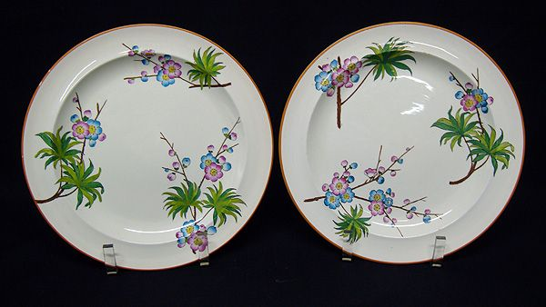 TWO Polychrome Transferware Plates ~ JAPONICA SPRIG 1886