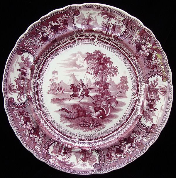 Large Staffordshire Transferware Plate ~ BELZONI ~ OSTRICH 1830