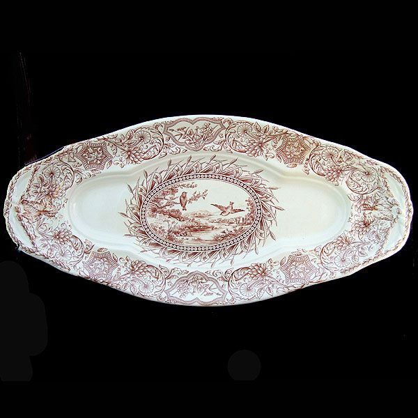 Rare Large Aesthetic Staffordshire Fish Platter ~ SONGBIRDS 1883