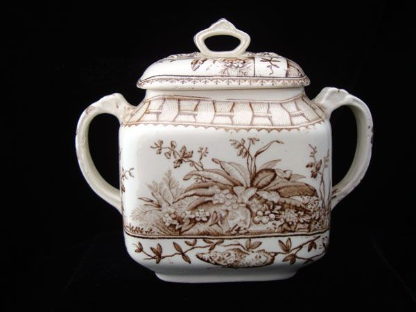 English Brown Aesthetic Movement Biscuit Pot ~ BRAZIL 1885