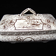 Staffordshire Brown Transferware Victorian Tureen ~ DEVONSHIRE 1885