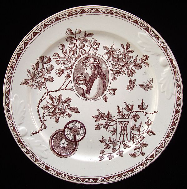 Brown Victorian Aesthetic Cake Plate ~ Pandora's Box 1880