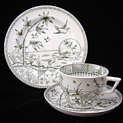 Antique 3 pc Victorian Green Transferware English Trio ~ Tonquin 1883