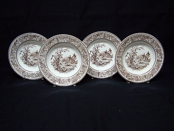 FOUR English Transfer Rice Bowls ~ DAFFODIL 1882
