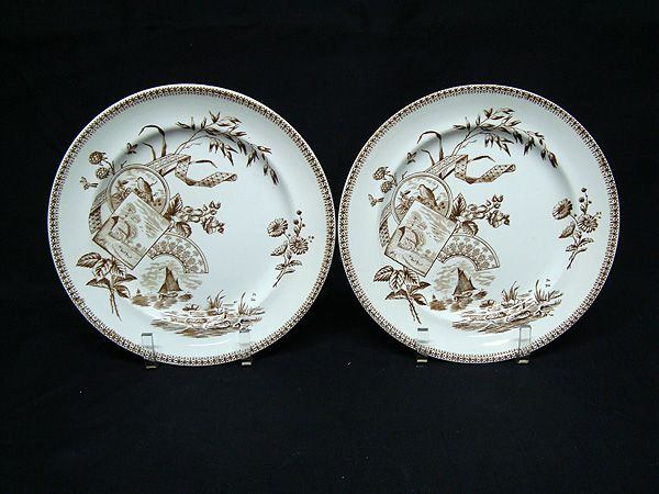 TWO Aesthetic Brown Transferware Plates ~ RASPBERRIES 1884