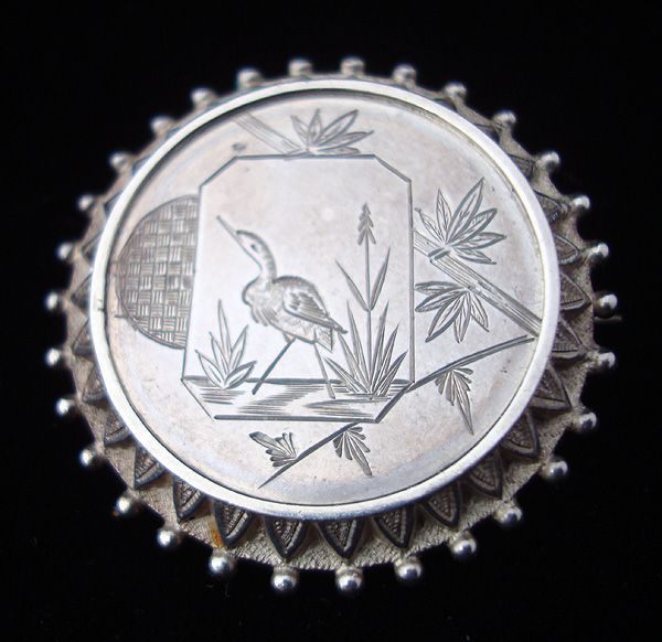 Antique Victorian Sterling Silver Memorial Brooch ~ c 1885