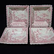 Four Red Staffordshire Condiment Bowls ~ MYSORE 1883