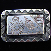 Victorian Sterling Silver Whooping Crane Brooch ~ 1880