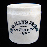QUACK Medicine ~ Poor Man's Friend Pot ~ 1880