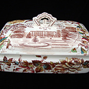 Brown Transferware English Views Tureen ~  ANGLAIS 1883