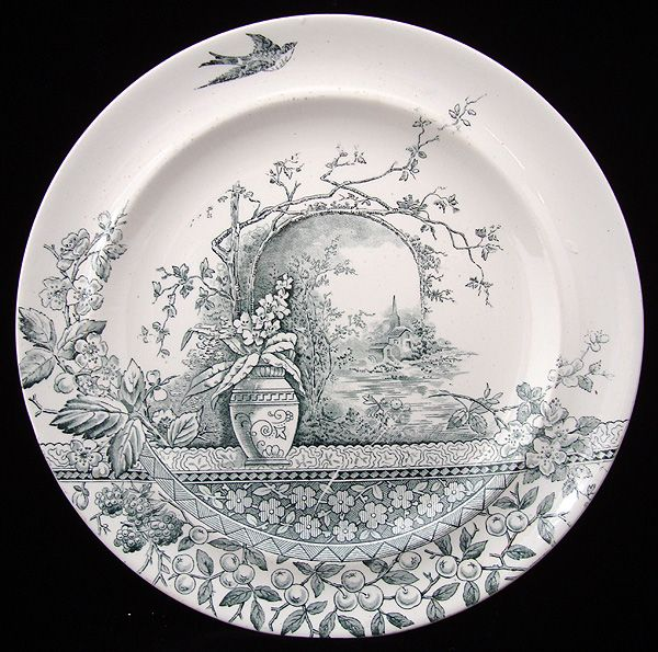 Victorian Ironstone Green Transferware Dinner Plate ~ RUSTIC 1886