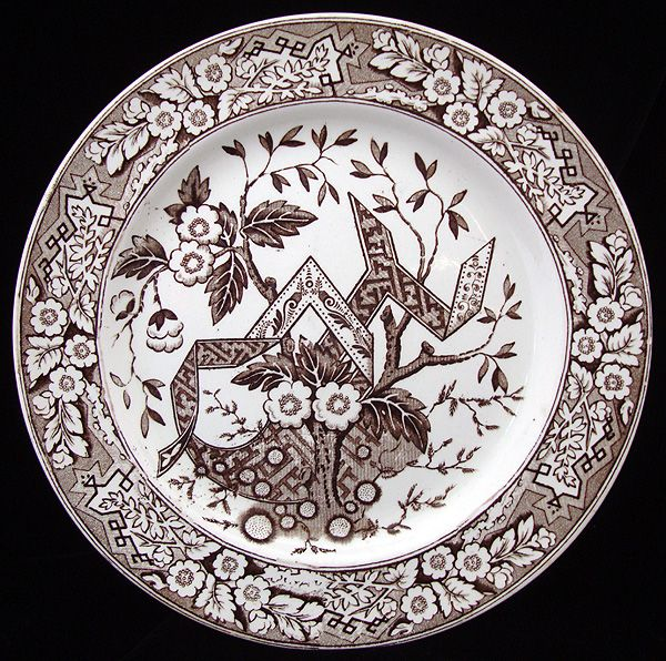 Large English Brown Transferware Plate ~ TREE of LIFE 1880