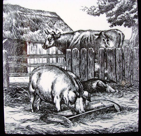 Minton Tile ~ William Wise Farm Pigs ~ Milk Cow 1879