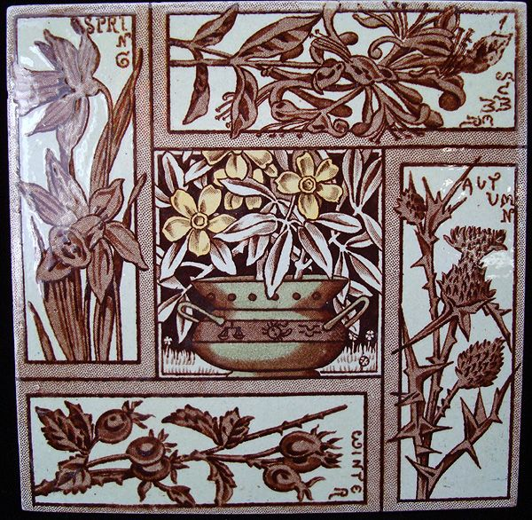 Seasons of the Year ~ Transfer Printed Tile ~ 1880