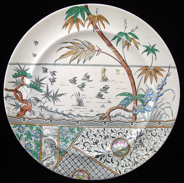 Aesthetic Movement HAWK Polychrome Plate ~ MELBOURNE 1883