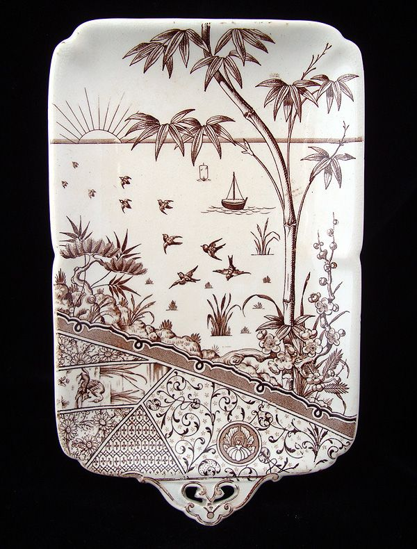 Brown Transferware Tray Platter ~ MELBOURNE 1881