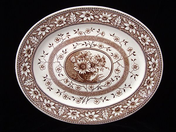 Aesthetic Movement Brown Transferware Platter ~ PALMYRA 1883