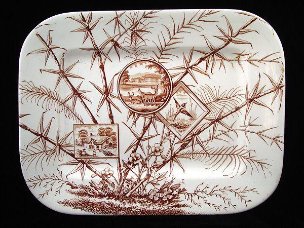 Brown Transferware Platter ~ DEER + BIRD 1883