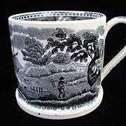 Victorian Pearlware Black Transferware Staffordshire Mug ~  1840