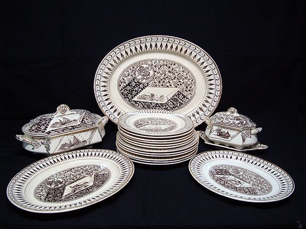 Brown Transferware Dinner Service for Six ~ CANTERBURY 1883