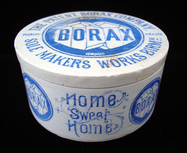 Rare Blue Victorian English BORAX Pot 1870