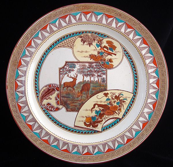 Aesthetic Brown Transferware Plate ~ DEER + BIRDS 1880