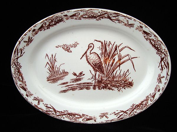 AESTHETIC Brown Transferware Miniature Platter ~ Great Heron 1879