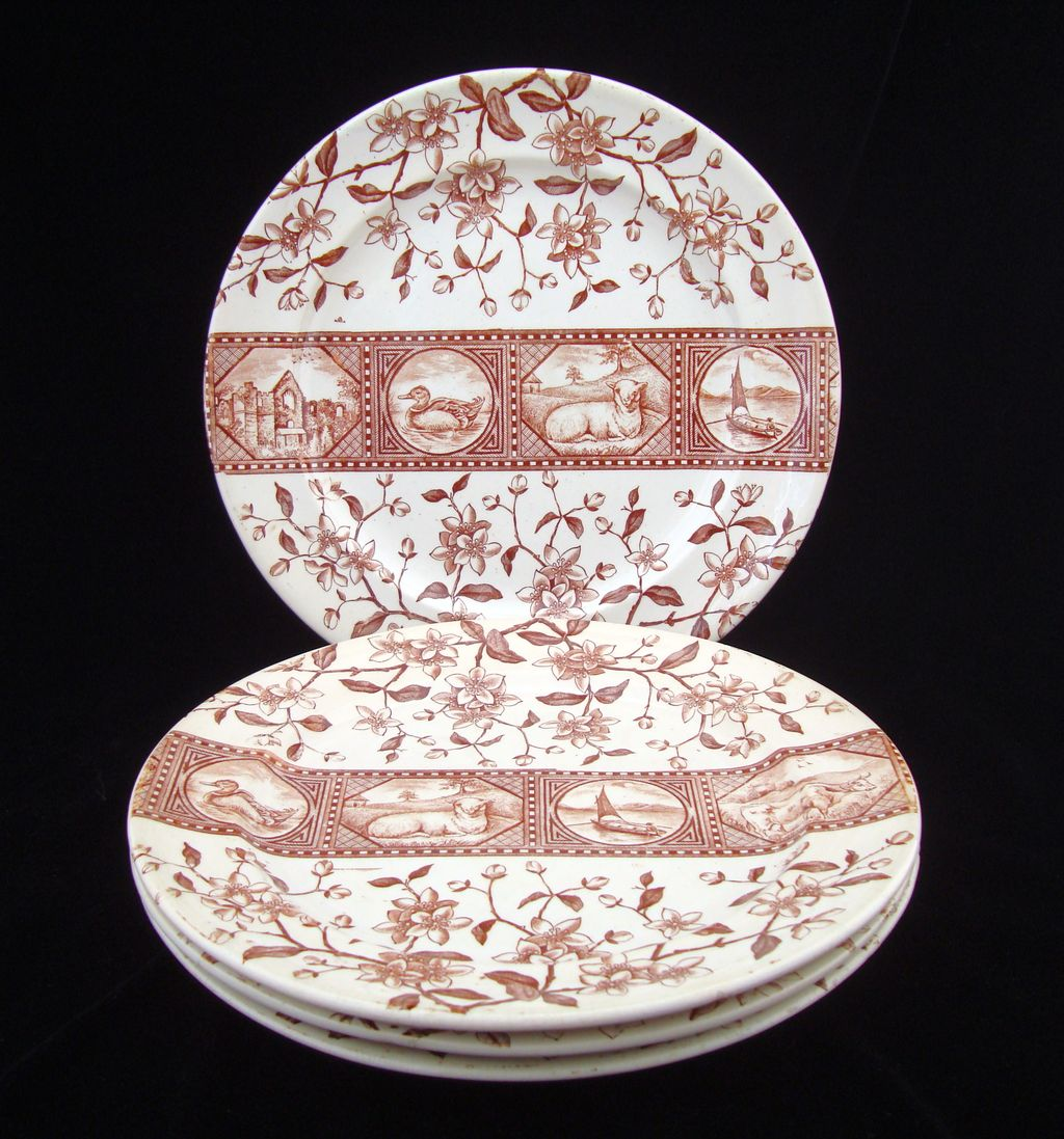 FOUR Brown Transferware Plates ~ Sheep ~ Duck ~ Atlantic 1880