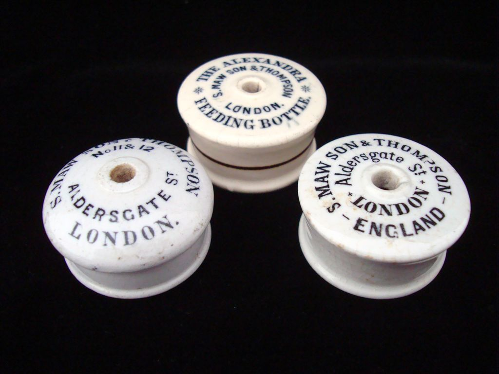 Three Infant Bottle Feeder Caps ~ 1870 ~ 1890
