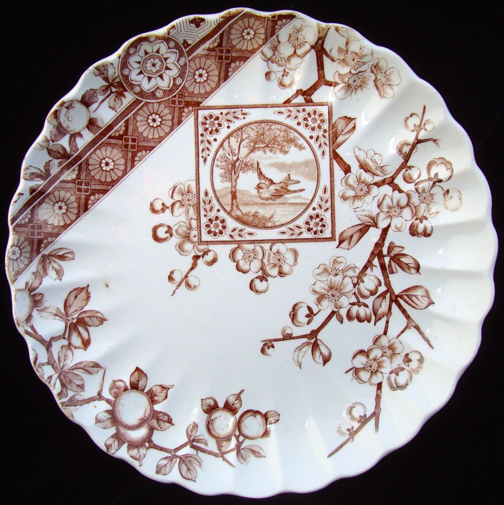 Victorian Brown Bird Transferware Plate ~ DADO 1885