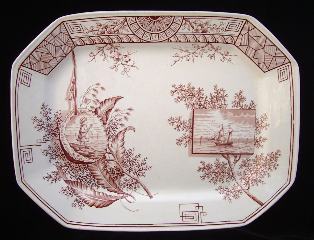 Large Oceanic Brown Aesthetic Transfer Platter ~ SEAWEED 1884