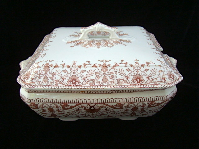 Brown Transfer Printed Soup Tureen ~ TOURNAY 1885