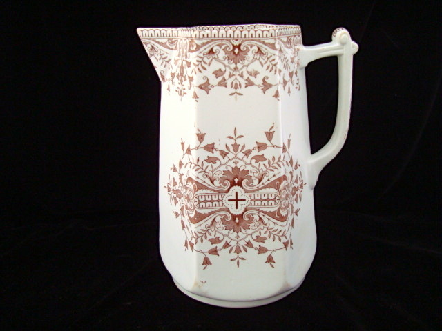 Aesthetic Movement Transferware Water Pitcher ~ TOURNAY 1885