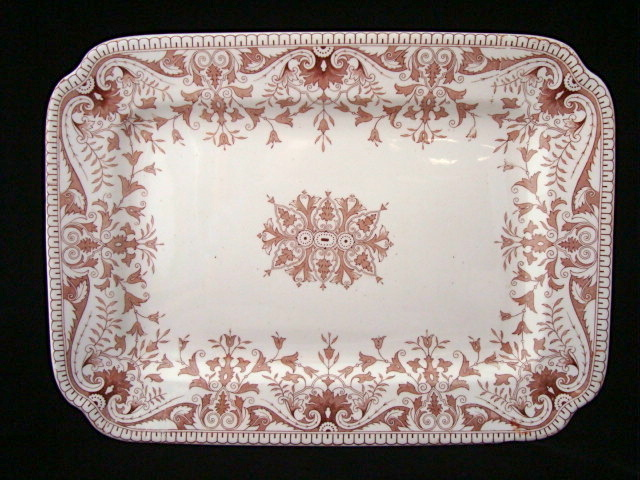 Aesthetic Movement Brown Ironstone Platter ~ TOURNAY 1885