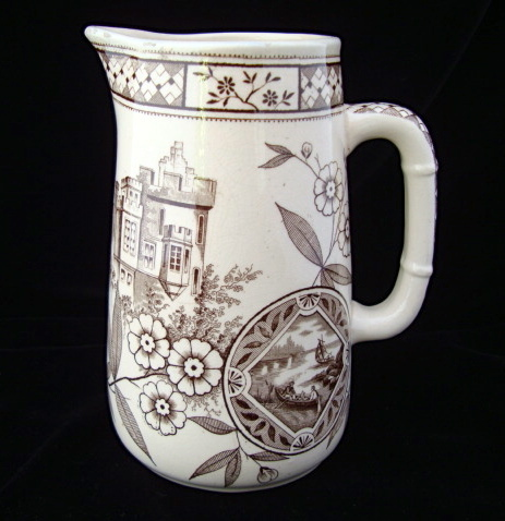 Brown Transferware English Syrup Pitcher ~ 1872