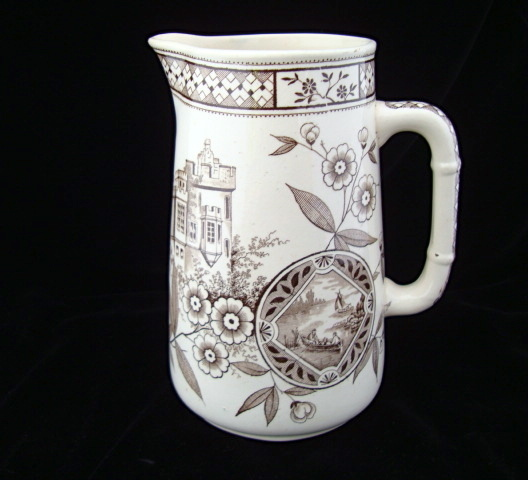 Brown Transferware English Water Pitcher ~ 1872