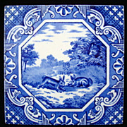Tile ~ Aesop Fable ~ The Hare and the Fox ~ 1870