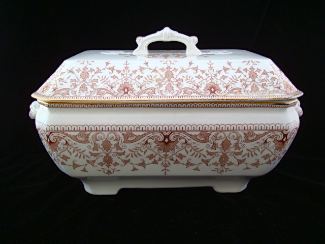 Large Brown Transfer Printed SoupTureen ~ TOURNAY 1885