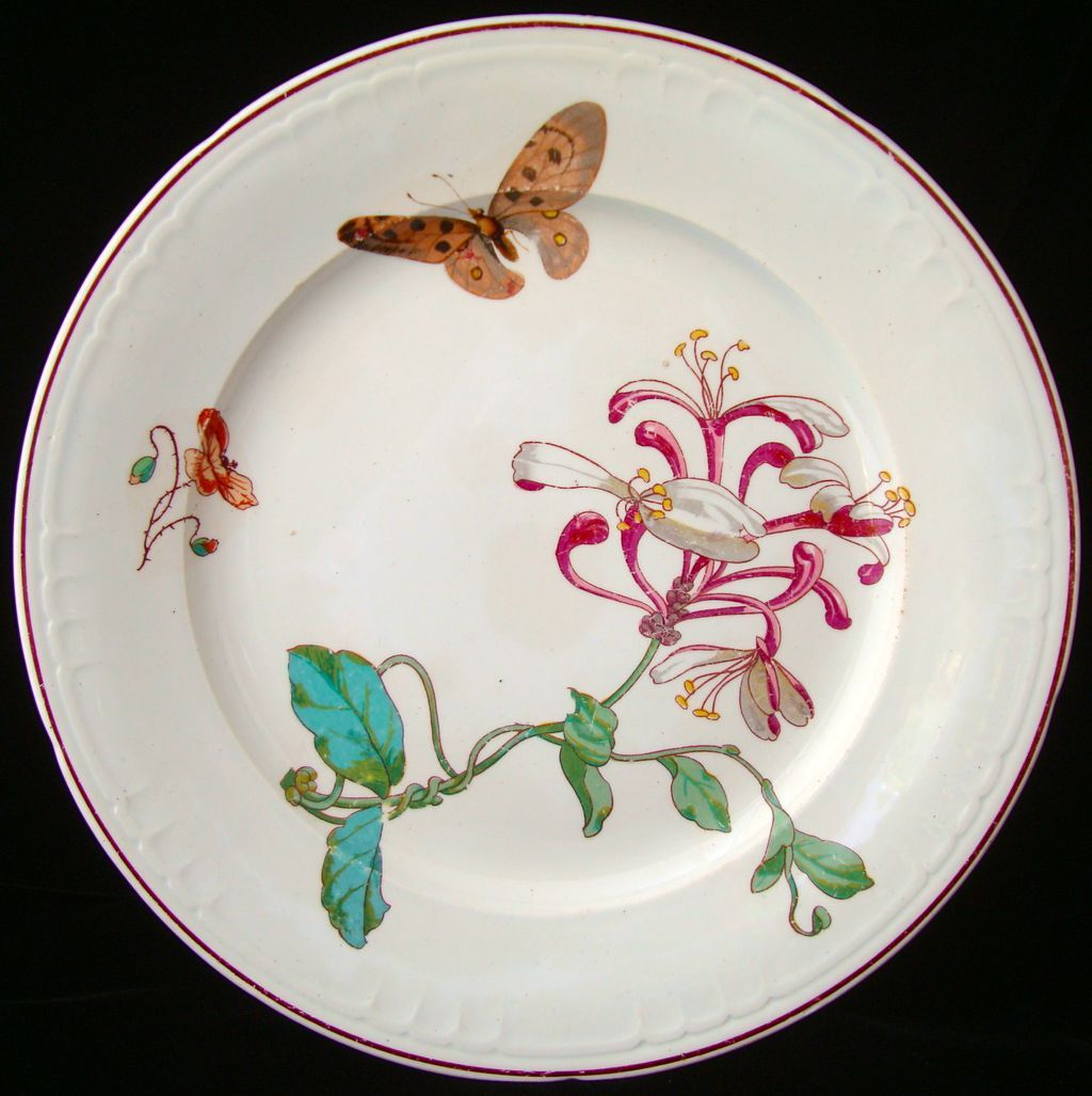 Rare Viellard French Transfer Plate ~ HONEYSUCKLE 1878