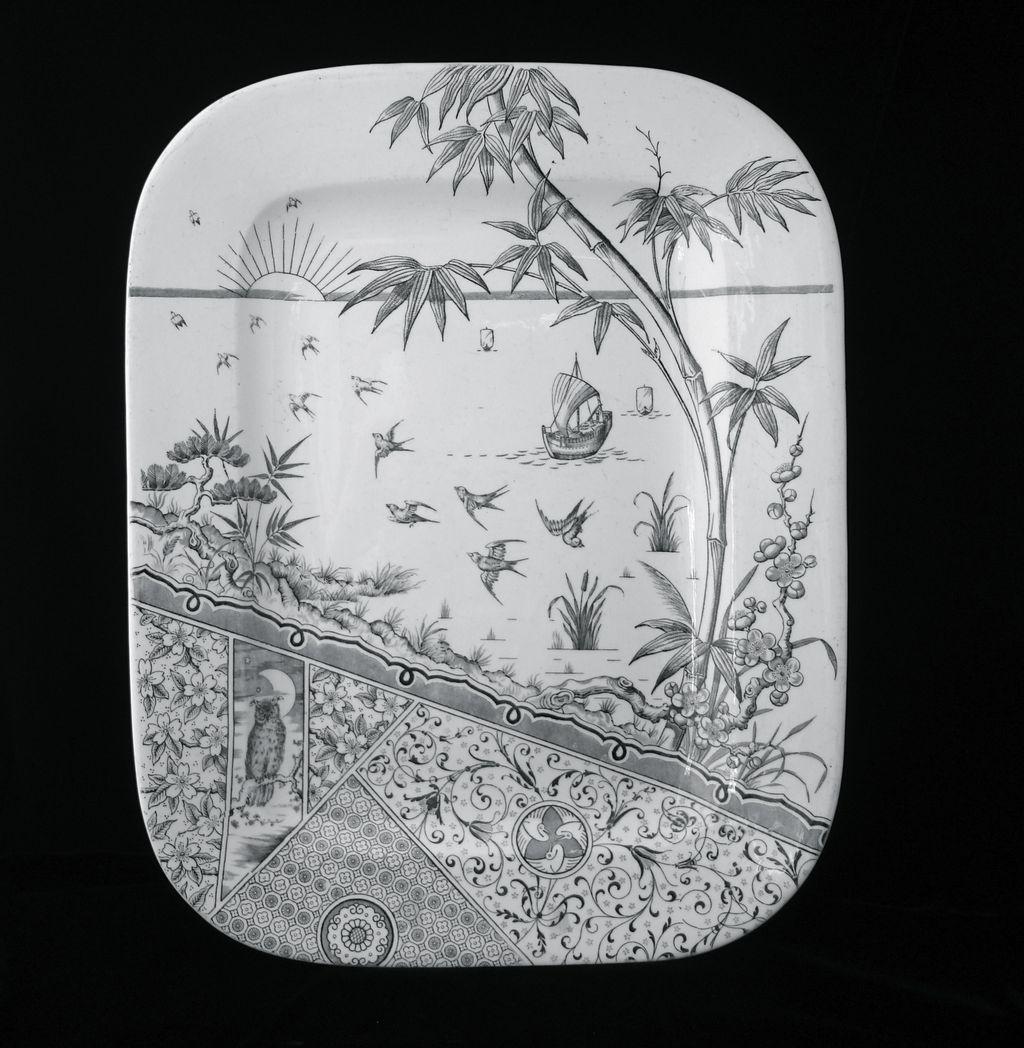 English Owl Victorian Transfer TURKEY Platter ~ MELBOURNE 1880