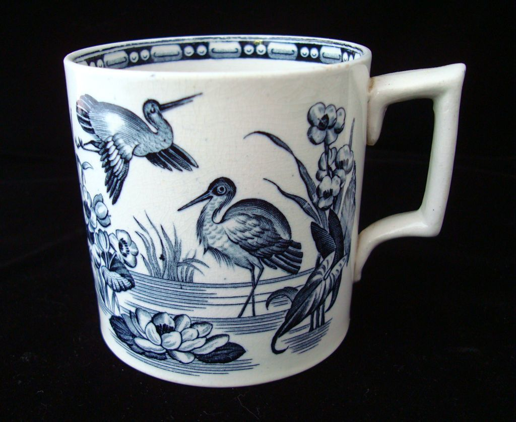 19th Century Aesthetic Black Transferware HERONS Mug ~ 1880