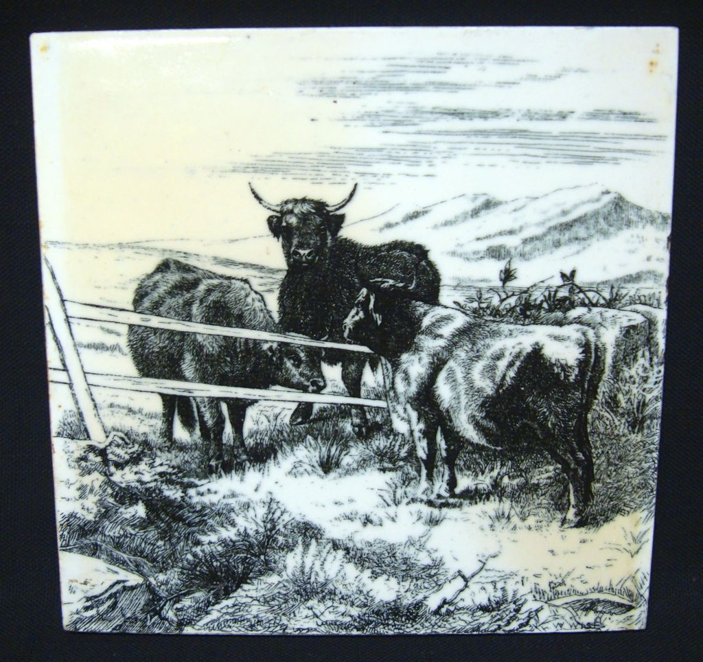 Signed Minton Tile ~ Wm Wise Farm ~ Cows 1879