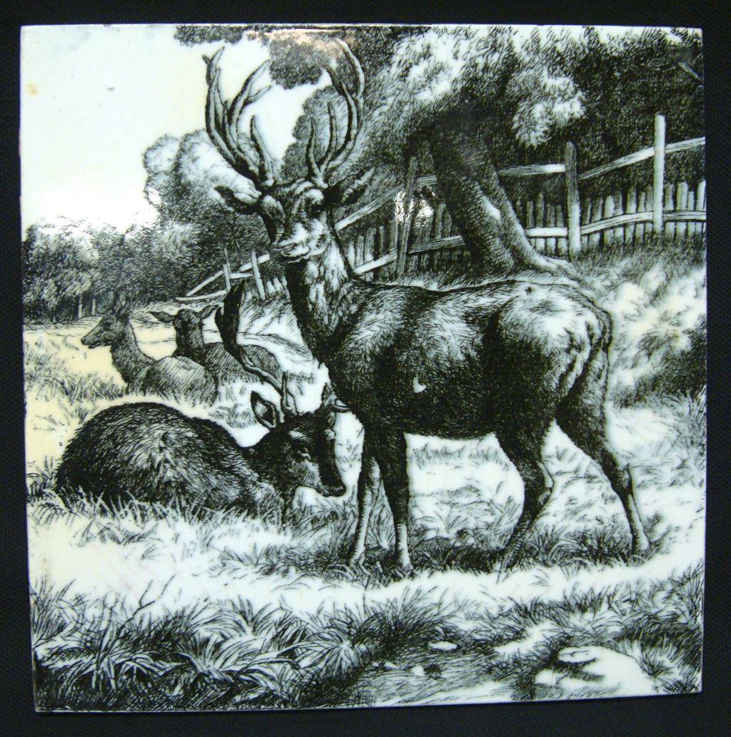 William Wise Transfer Printed Minton Tile ~ Deer 1879