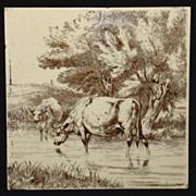 William Wise Tile ~ Farm Cows 1879