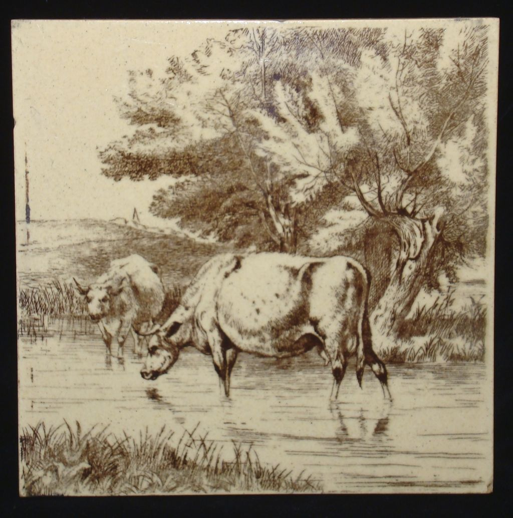 William Wise Tile ~ Farm Cows 1879
