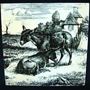 William Wise Transfer Printed Minton Tile ~ Burro 1879