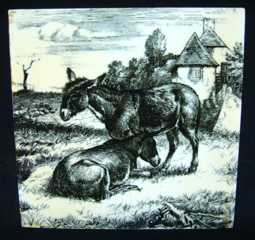 William Wise Transfer Printed Minton Tile ~ Burro 1879